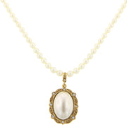 Gold-Tone  Costume Pearl Oval Pendant Necklace 16  Adj.