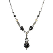 Black-Tone Black and Black Diamond Color Drop Necklace 15  Adj.