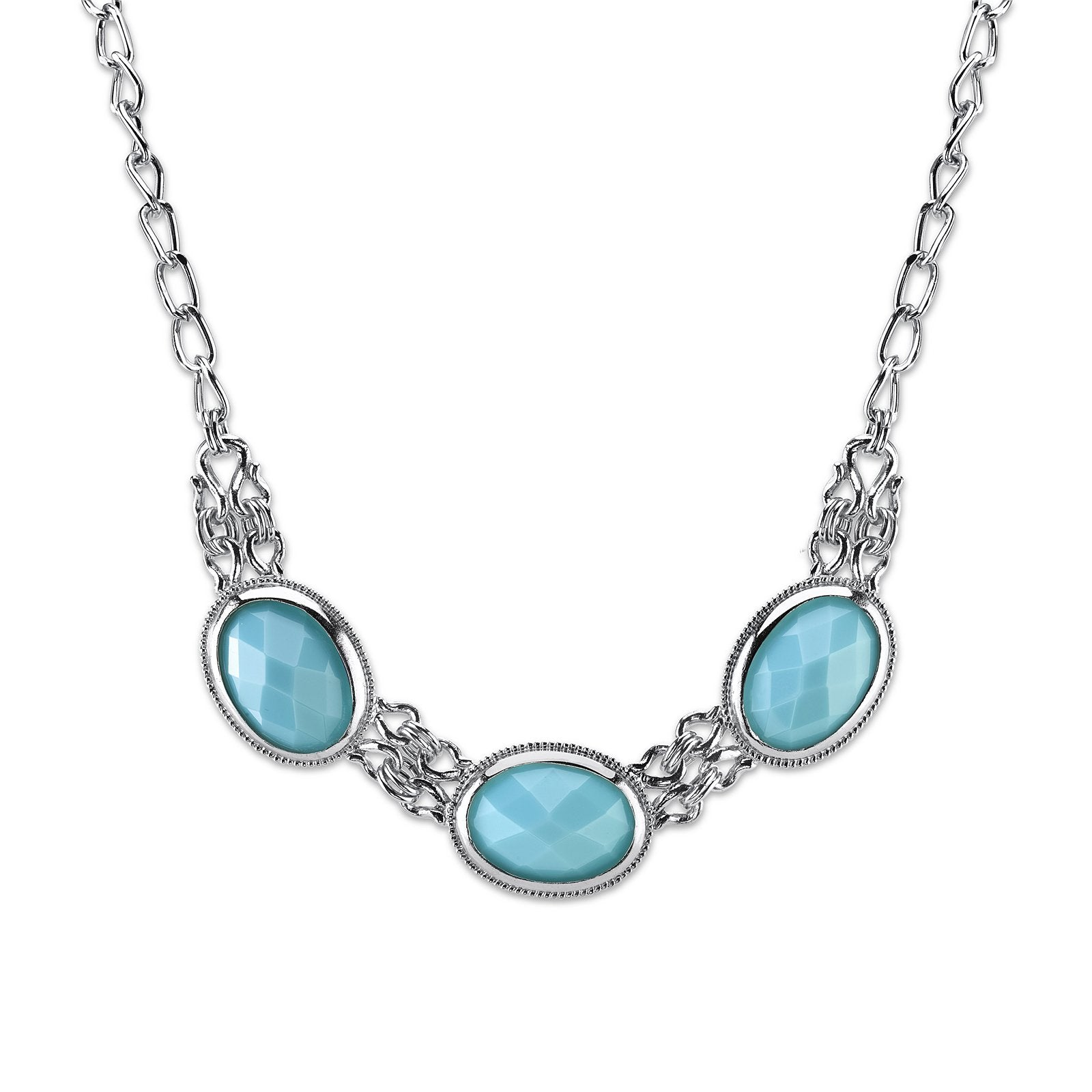 Silver-Tone Turquoise Blue Color Faceted Collar Necklace 16 Adj.