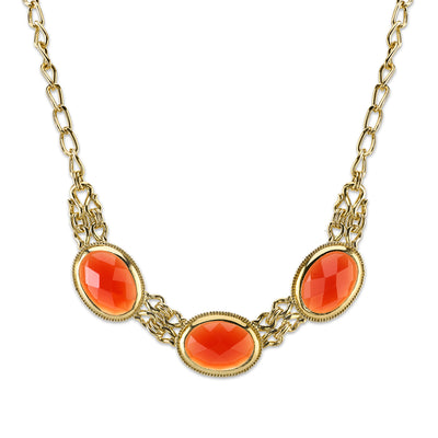 Gold-Tone Orange Faceted Collar Necklace 16 - 19 Inch Adjustable