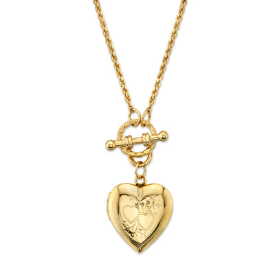 Gold-Tone Heart Locket Toggle Necklace 18 In