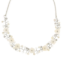 1928 Jewelry: 2028 Jewelry - Silver-Tone White Cherry Blossom Necklace