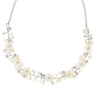 Silver Tone White and Crystal Floral Collar Necklace