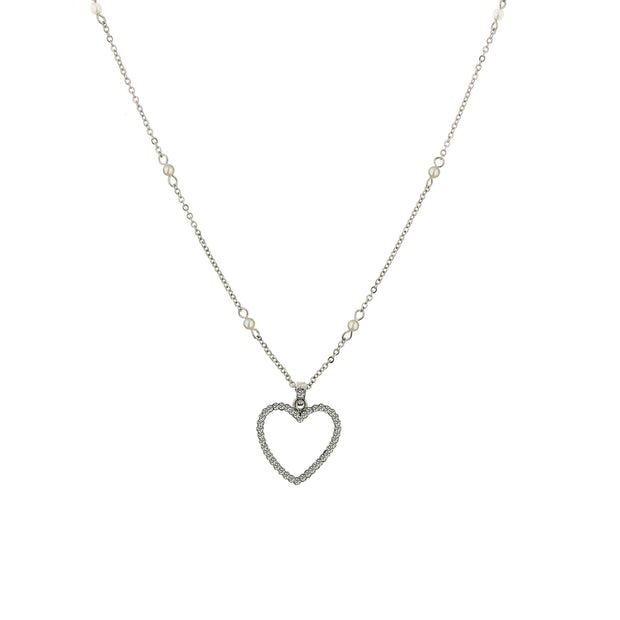 Silver-Tone Crystal with  Costume Pearl Heart Necklace 16 In Adj