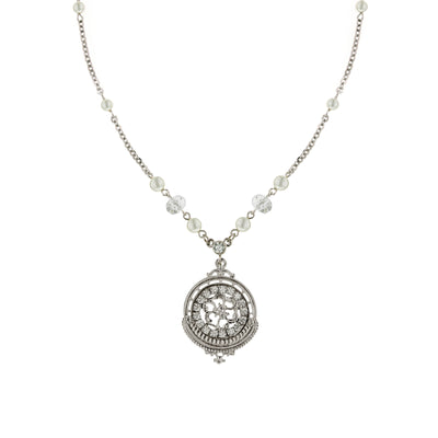 Silver-Tone Crystal With Costume Pearl Round Pendant Necklace 16 - 19 Inch Adjustable