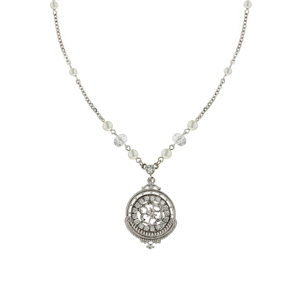 Silver-Tone Crystal with Costume Pearl Round Pendant Necklace 16 In Adj