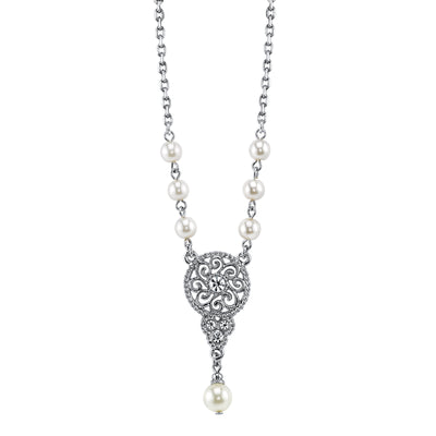 Silver-Tone Crystal w/ Simulated Pearl Drop Necklace 16 Adj.