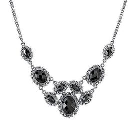 Silver-Tone Black Bib Necklace 16 Adj.