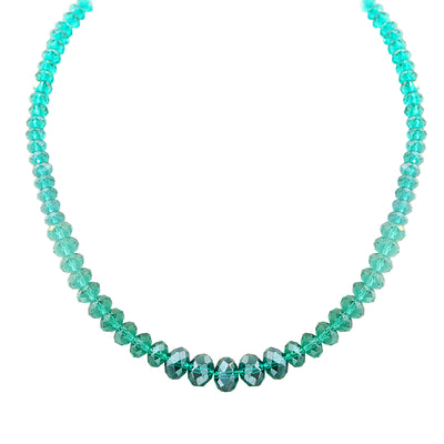 Green Faceted Beaded Necklace 16   19 Inch Adjustable