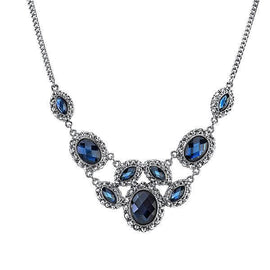1928 Jewelry: 1928 Jewelry - Silver-Tone Blue Bib Necklace