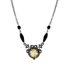 Black-Tone Smoky Topaz Color Crystal Flower Necklace 16 In Adj