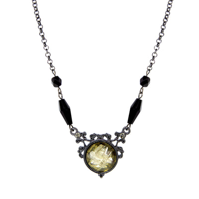Black-Tone Smoky Topaz Color Crystal Flower Necklace 16 - 19 Inch Adjustable
