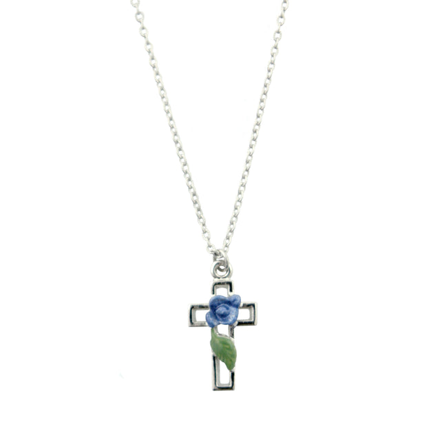 Blue Hand Enameled Blue Rose And Leave Cross Necklace 16 - 19 Inch Adjustable