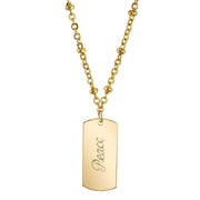 14K Gold-Dipped  Peace  Necklace 16 - 19 Inch Adjustable