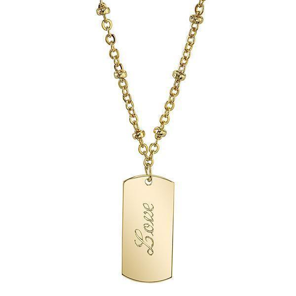 14K Gold Dipped  Love  Necklace 16   19 Inch Adjustable