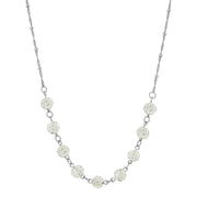 1928 Jewelry Silver-Tone Crystal Fireball Pave Necklace 16 In Adj
