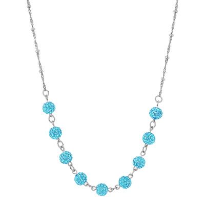 Silver-Tone Aqua Blue Crystal Fireball Pave Necklace 16 In Adj