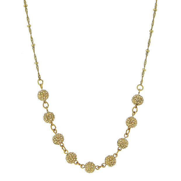 Gold-Tone Crystal Fireball Pave Necklace 16 - 19 Inch Adjustable Yellow