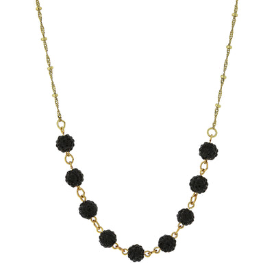 Gold-Tone Black Crystal Fireball Pave Necklace 16 In Adj