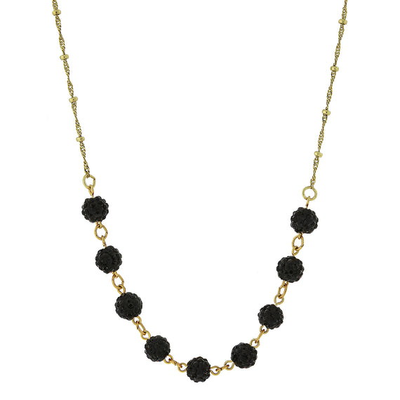 Fashion Jewelry - Gold-Tone Black Crystal Fireball Pave Necklace