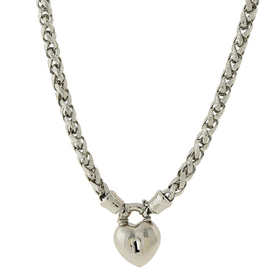 1928 Jewelry: 1928 Jewelry - Silver-Tone Lock and Heart Necklace 18""
