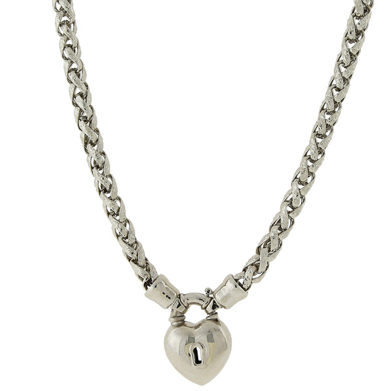 1928 Jewelry: 1928 Jewelry - Silver-Tone Lock and Heart Necklace 18