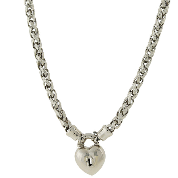 Silver-Tone Lock and Heart Necklace 18 In