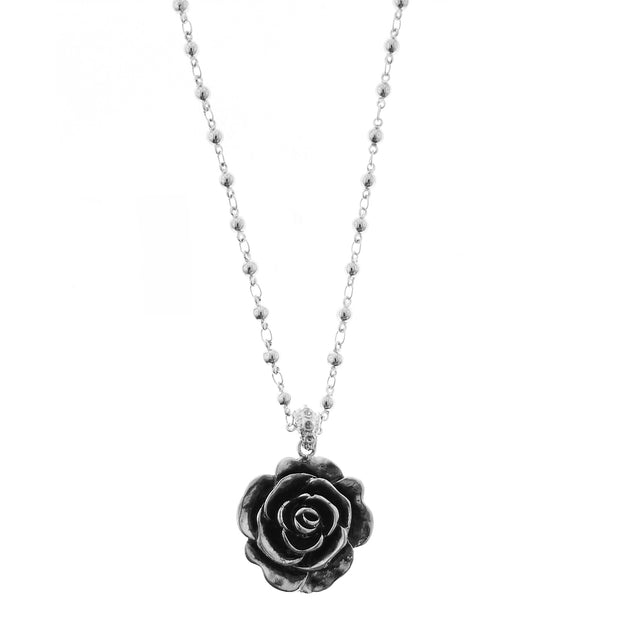Silver-Tone Black Enamel Flower Necklace 14 In Adj