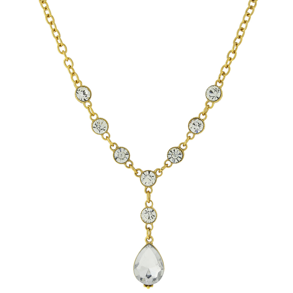 Gold Tone Clear Crystal Teardrop Y Necklace