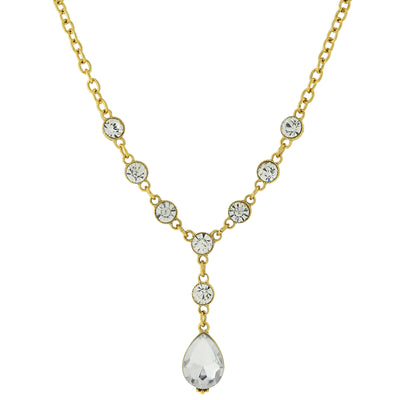 Gold Tone Clear Crystal Teardrop Y Necklace 16   19 Inch Adjustable
