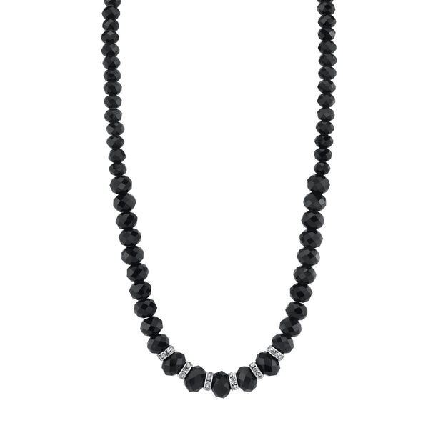 Silver-Tone Black Faceted W/Crystals Necklace 16 - 19 Inch Adjustable