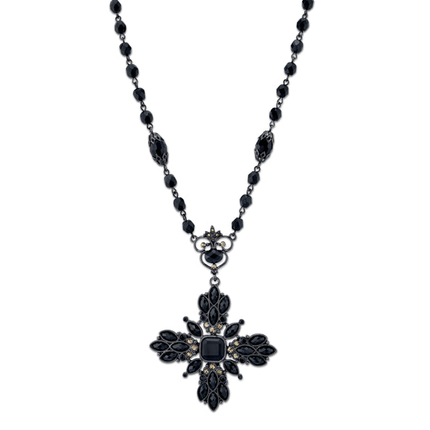 "Black-Tone Black and Black Diamond Color Beaded Floral Pendant Necklace 16 In""Adj"