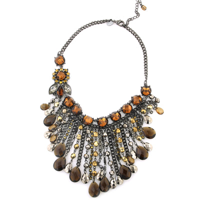 Black Smoke Topaz Chain Drop Bib Necklace 15 In Adj