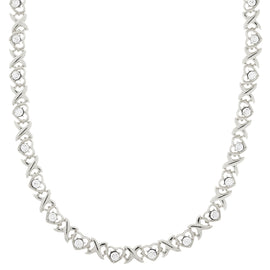 Fashion Jewelry - 2028 Silver-Tone Clear Crystal Heart Link Necklace