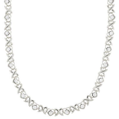 Silver-Tone Clear Crystal Heart Link Necklace 16 - 19 Inch Adjustable