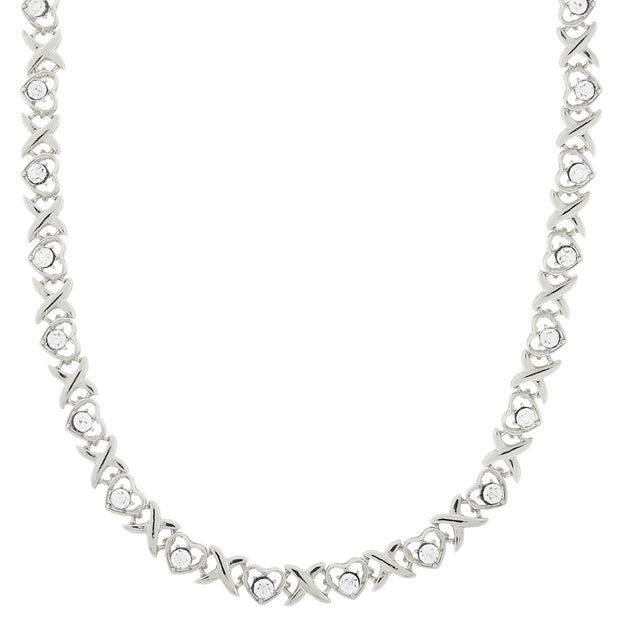 Silver Tone Clear Crystal Heart Link Necklace 16   19 Inch Adjustable