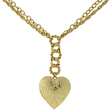 Fashion Jewelry - Gold-Tone Floral Embossed Heart Locket Necklace