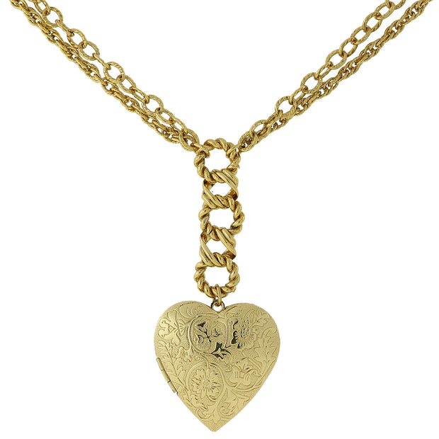Gold Tone Floral Embossed Heart Locket Necklace 28 In