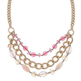 Copper-Tone Pink Strandage Necklace 16  adj.