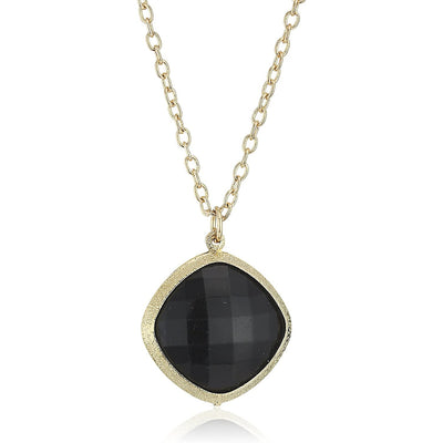 Gold Tone Black Faceted Pendant Necklace 16   19 Inch Adjustable