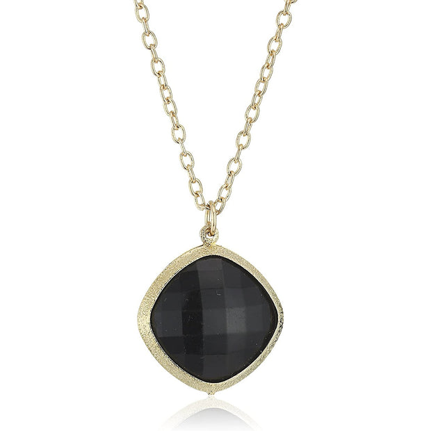 Gold-Tone Black Faceted Pendant Necklace 16 - 19 Inch Adjustable