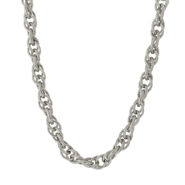 Silver Tone Chain Link Necklace 18 In