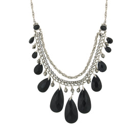 1928 Jewelry: 2028 Jewelry - Silver-Tone Black Teardrop Bib Statement Necklace