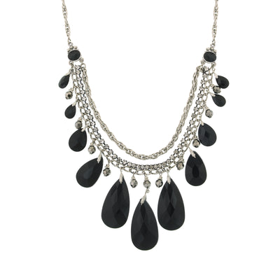 Silver Tone Jet Teardrop Bib Necklace