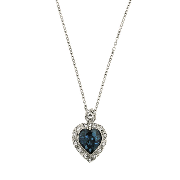 Silver Tone Blue Montana Heart Pendant Necklace 18  Adj.
