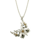 Silver Tone Lt. Colorado / Blk Diamond Butterfly Necklace 16   19 Inch Adjustable