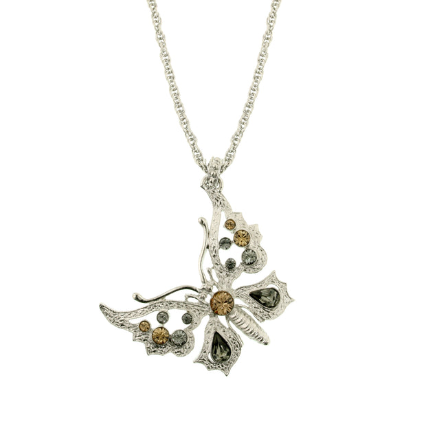 Silver-Tone Lt. Colorado/Blk Diamond Butterfly Necklace 16 In Adj