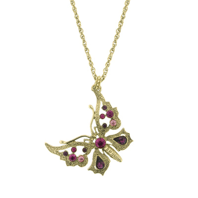 Brass Amethyst/Fuchsia/Rose Butterfly Necklace 16 In Adj