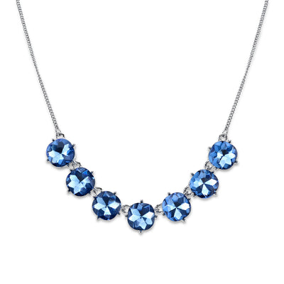 Silver-Tone Blue Faceted Collar Necklace 16 - 19 Inch Adjustable