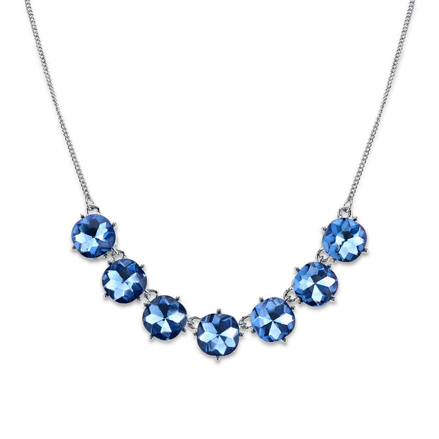 Silver-Tone Blue Faceted Collar Necklace 16 In Adj